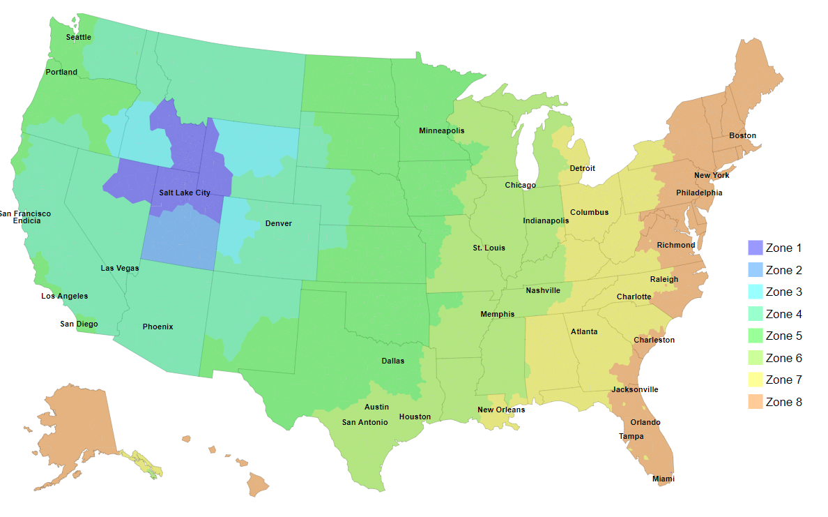 MintFulfill Domestic Zone Map